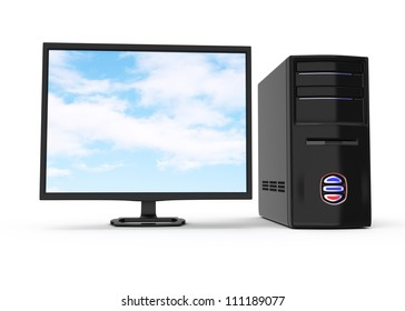 black desktop computer isolated on white background. 3d render