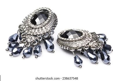 Black Diamond Earring in White background