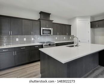 Black Diamond, WA / USA - Aug. 18, 2019: Luxury kitchen interior