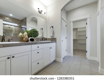 Black Diamond, WA. / USA - Jan. 10, 2019: Luxury bathroom interior