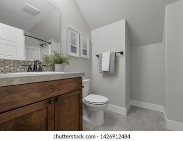 Black Diamond, WA / USA - June 13, 2019: Modern bathroom interior