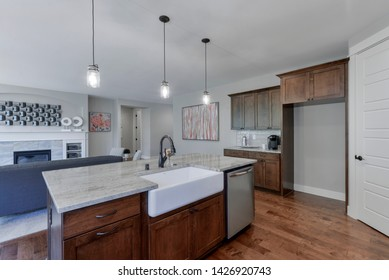 Black Diamond, WA / USA - June 13, 2019: Modern kitchen and living room interior