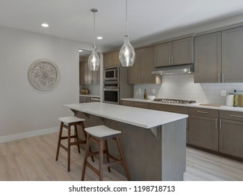 Black Diamond, WA / USA - Oct. 3, 2018: Modern kitchen interior
