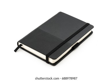 Black diary notebook with elastic band on white background.