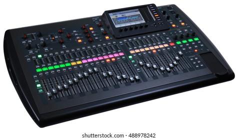 Black digital audio mixer on a white background