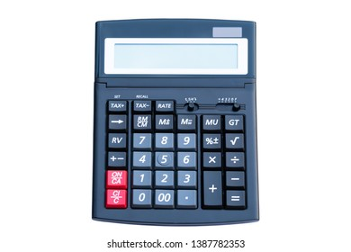 Black digital calculator  top view isolated on white background