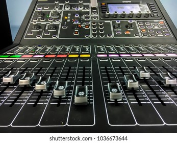 Black digital mixer used in concert