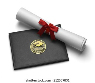 Black Diploma Cover with Rolled Degree Isolated on White Background.
