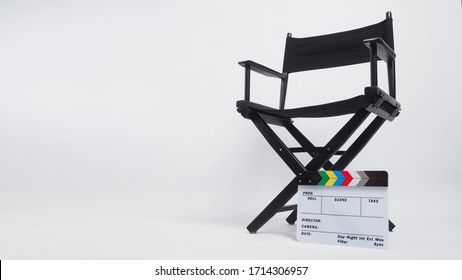 Black director chair Clapper board or movie slate. it is used in video production and film industry on white background.