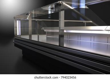 Black display case. 3d illustration