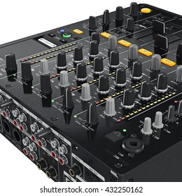 Black dj mixer control panel with the regulators, ports, light bulbs, close view. 3D graphic