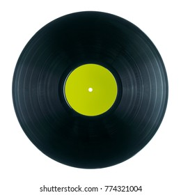 Black DJ vinyl record plate for a music player  on a white background close-up