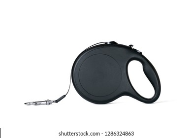 Black dog leash on an isolated background.
