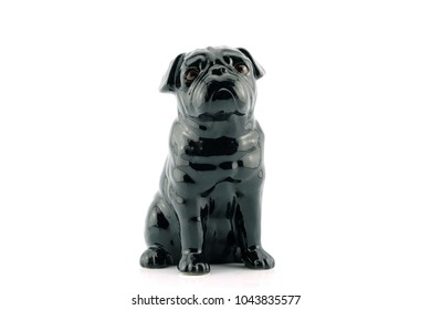 Black dog statue On a isolated white background.