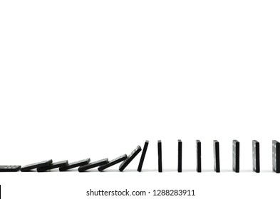 Black Domino on white background, drop, Domino effect, Hobbies and entertainment.