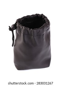 Black drawstring bag packaging isolated on white background