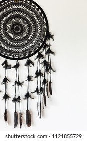 Black Dreamcatcher on white wall