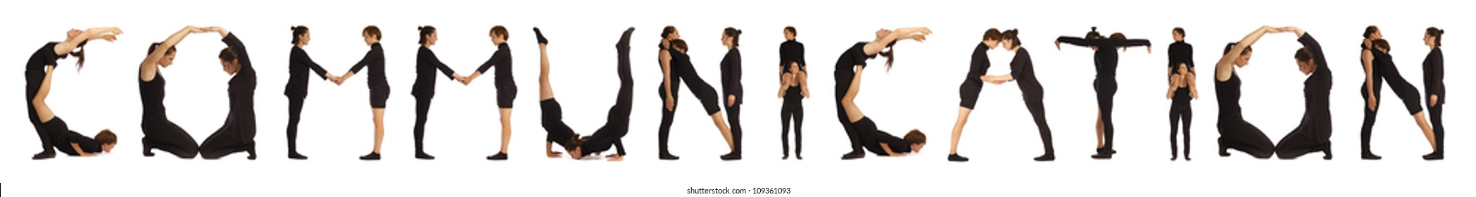 Black dressed people forming COMMUNICATION word over white