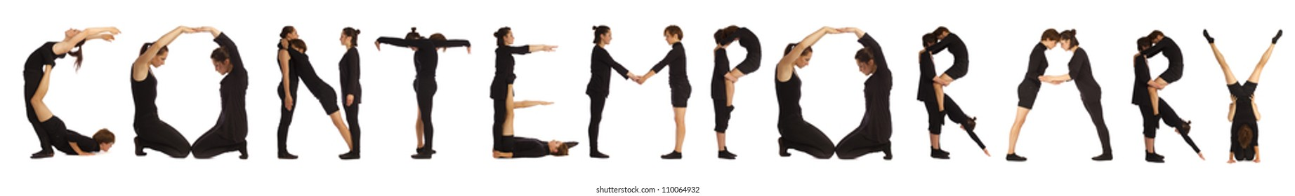 Black dressed people forming CONTEMPORARY word over white