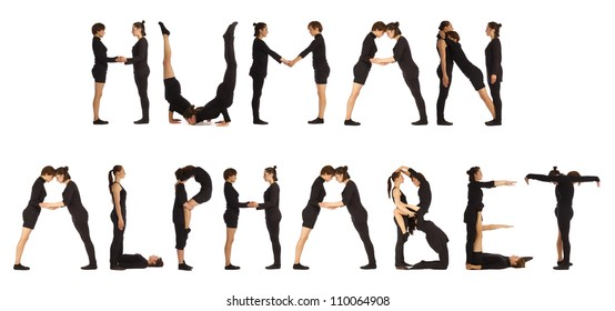 Black dressed people forming HUMAN ALPHABET word over white