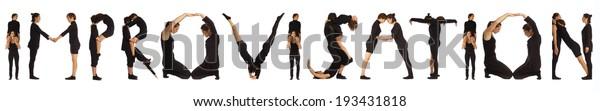Black dressed people forming IMPROVISATION word over white