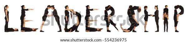 Black dressed people forming LEADERSHIP word over white