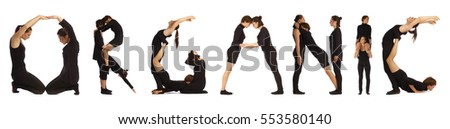 Black dressed people forming ORGANIC word over white
