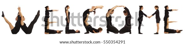 Black dressed people forming WELCOME word over white background
