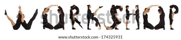 Black dressed people forming WORKSHOP word over white