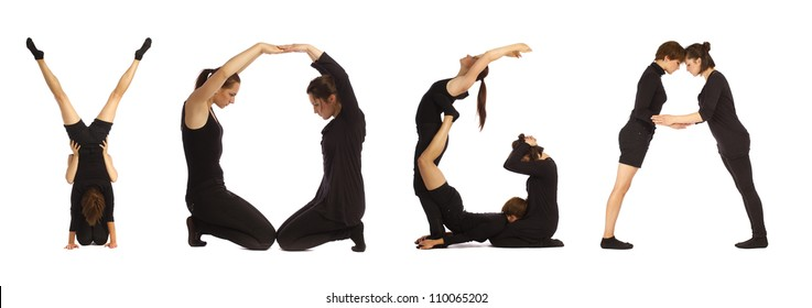 Black dressed people forming YOGA word over white