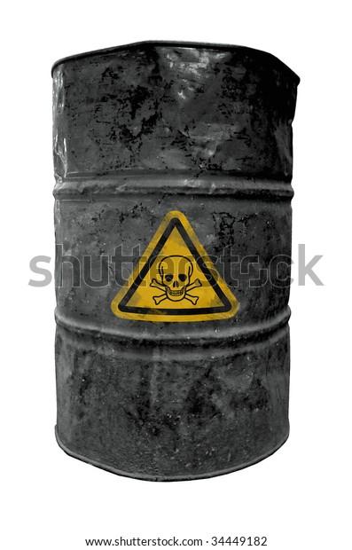 black drum barrel, contain poisonous liquid