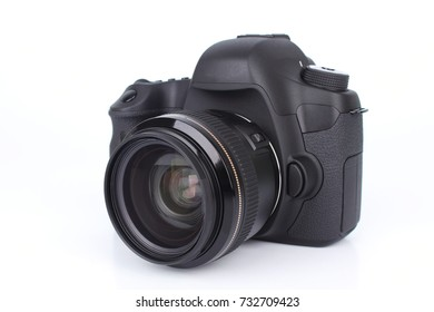 Black DSLR Camera isolated on white background