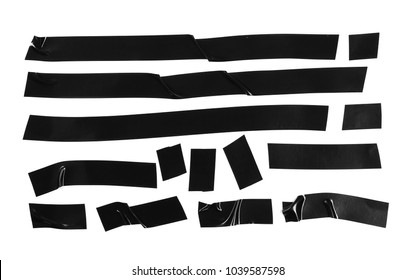Black duct repair tape isolated on white background, top view
