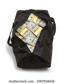 Black Duffel Bag Full of Money Isolated on a White Background.