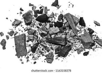 black dust powder charcoal  on white background