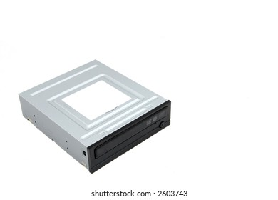 A black DVD Burner drive for computers and other electronic devices.