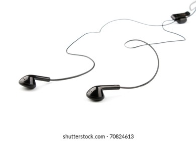black ear buds isolated on white background