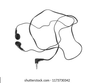 Black earbuds earphones isolated on a white background