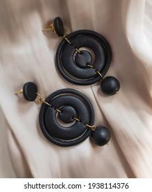 Black earrings from polymer clay. handmade