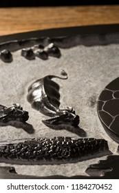 Black and ebony ebony stone tea set scene