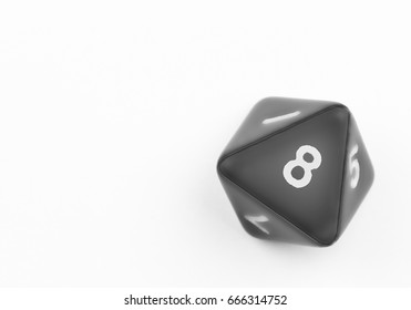 Black eight sided die with white number 8. Slight drop shadow. Isolated on white background. Copy space.