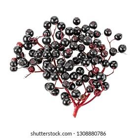 Black elderberry fresh fruit on a white background, top view.