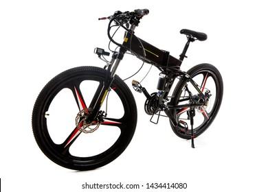 Black electric bike on white background.Sport bike.