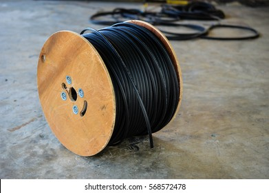 Black electric cable in coil spool, Black electric wire in coil spool