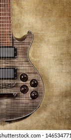 black electric guitar on brown canvas background