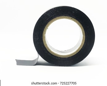 Black electrical tape isolated on a white background