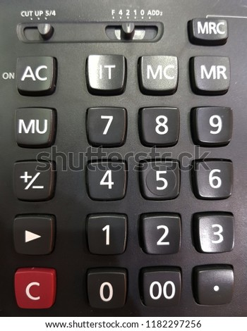 Black Electronic Calculator Red C White Stock Photo (Edit Now