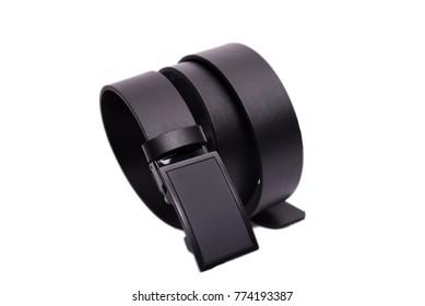 Black elegant belt on white background
