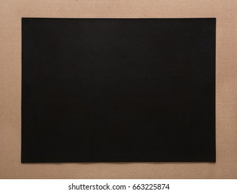 Black empty carton with craft frame, passepartout. Copy space