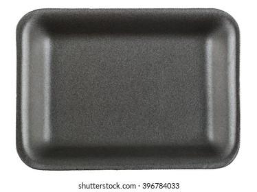 Black empty food tray isolated on white background